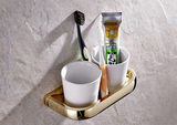 Gold Double Toothbrush Holder #201927