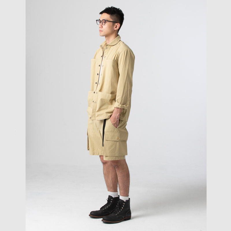 Snap Button Shirt Jacket - Beige
