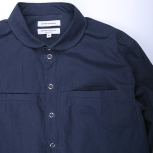 Snap Button Shirt Jacket - Navy