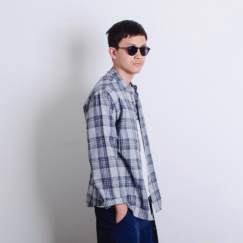 Mandarin Collar Shirt - Navy