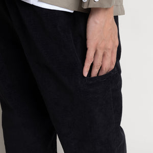 Corduroy Pleated Pants - Black