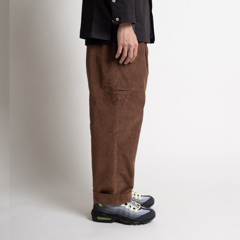 Corduroy Pleated Pants - Brown