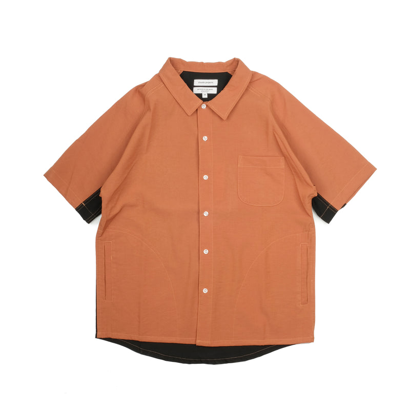 Contrast Panel Raglan Shirt - Rust/Black