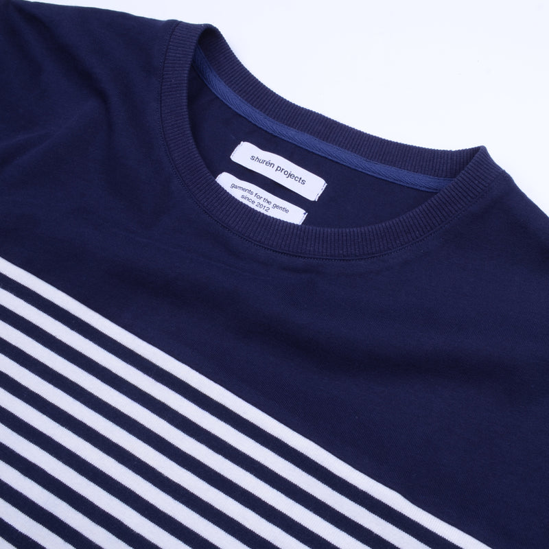 Stripe Panel Tee - Navy