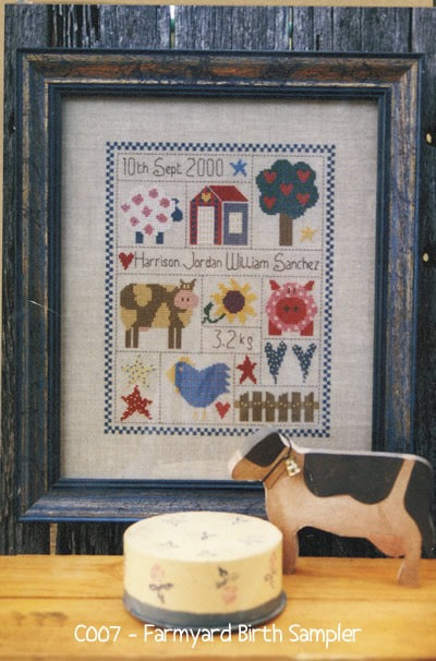 Farmyard Birth Sampler Cross Stitch