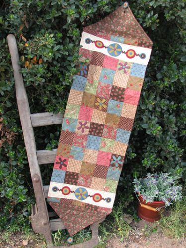 Hatched and Patched Funky Flower Table Runner