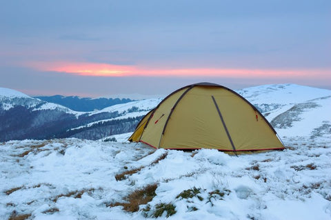 Tent in mountains in the winter