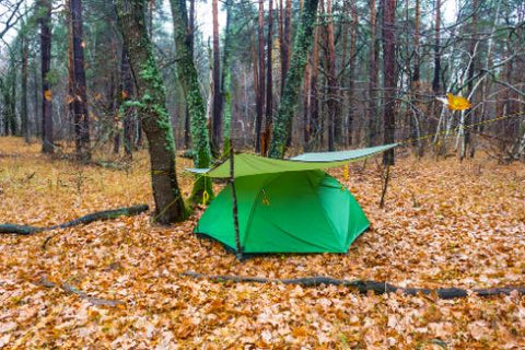 green touristic tent under a tarp in a forest