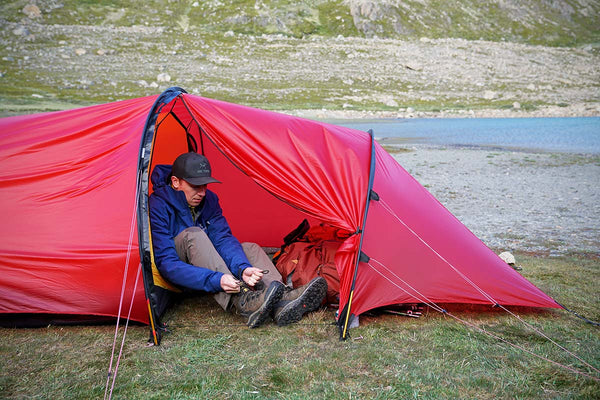 A man in a tent.
