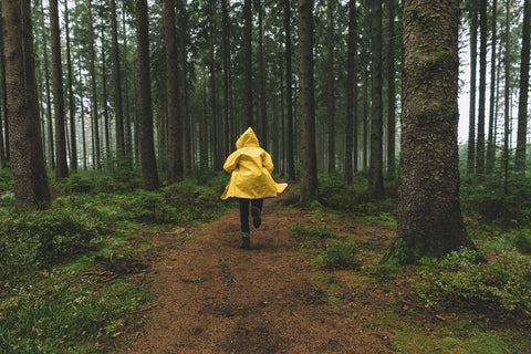 A person in a raincoat.