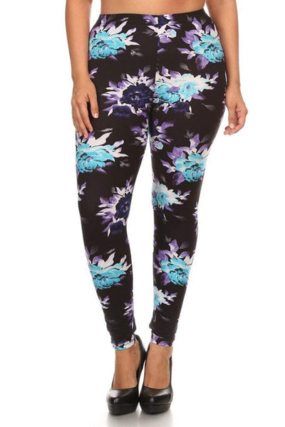 High Waisted Printed Ultra Soft Plus Size Colorful Patterned Enchanting Plus Size Patterned Leggings