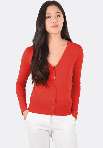 Daphne V-Neck Cardigan (Red)