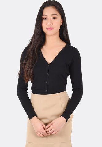 Daphne V-Neck Cardigan (Black)