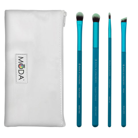 MODA 5PC BOLD EYE KIT Makeup Brush Set & Pouch Bag