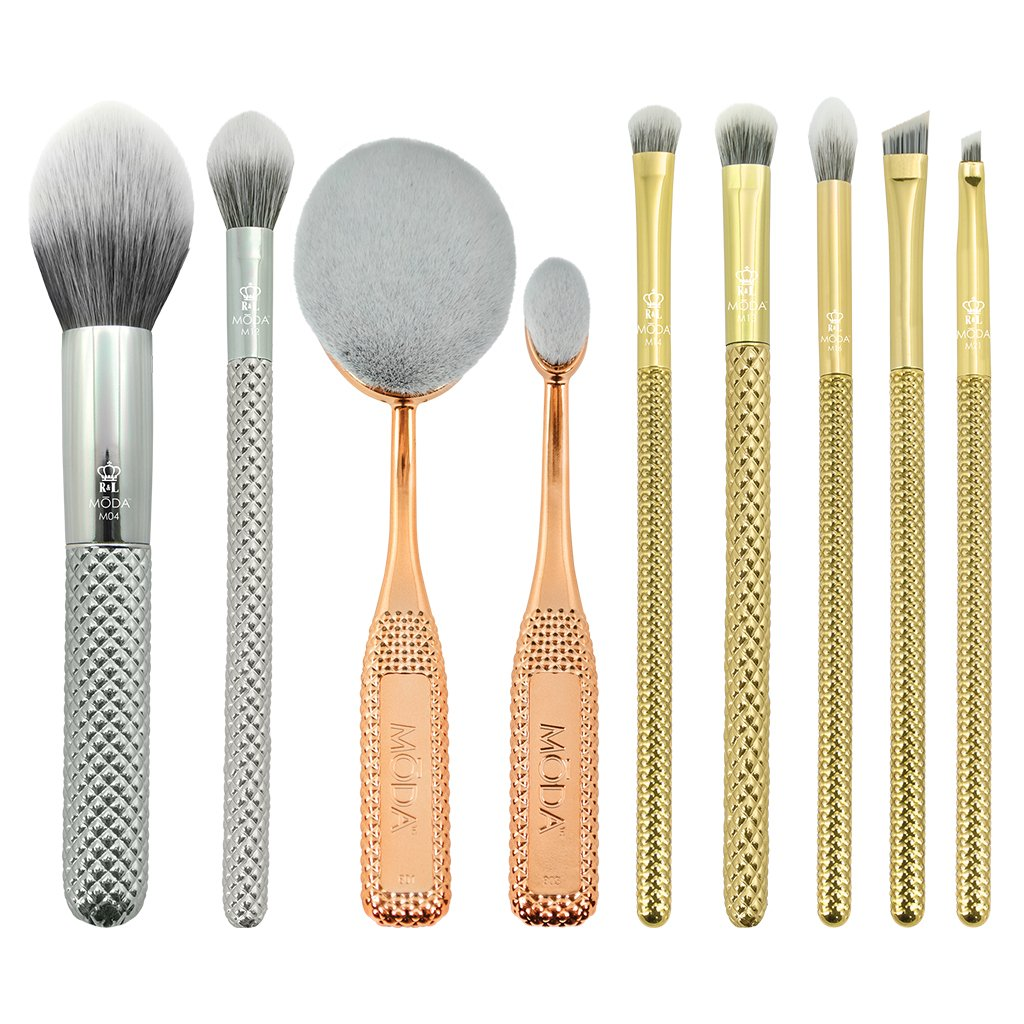 MODA METALLICS 10PC DELUXE GIFT KIT Makeup Brush Set