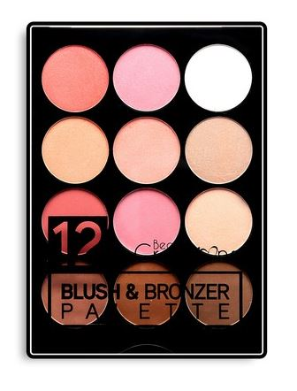 12 COLOUR BLUSH & BRONZER PALETTE