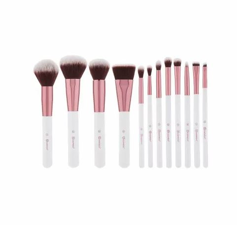 Crystal Quartz - 12 Piece Brush Set With Cosmetic Bag