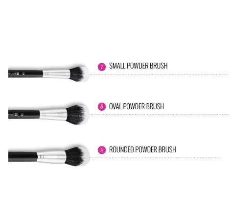 Dual Fiber - 9 Piece Brush Set with Black Brush Roll