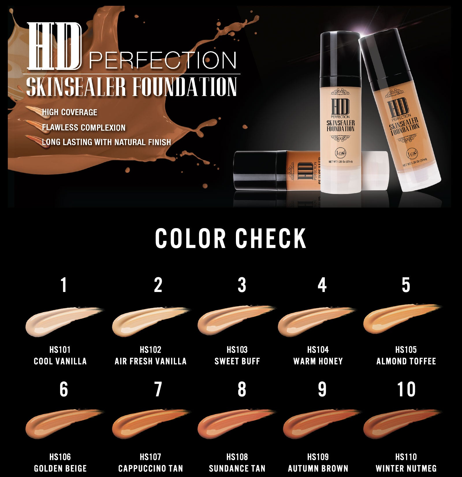 HD PERFECTION SKINSEALER FOUNDATION Autumn Brown HS109