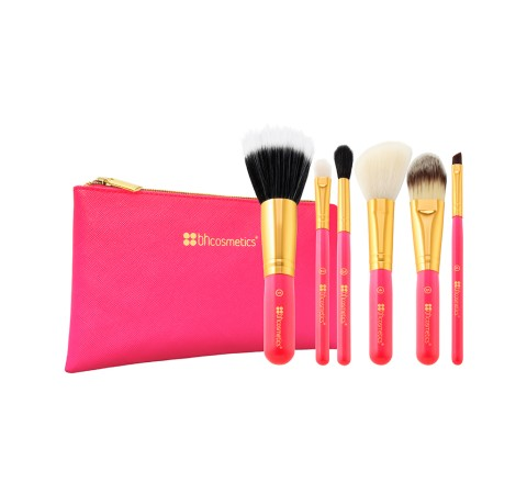 Neon Pink - 6 Piece Brush Set with Cosmetic Bag