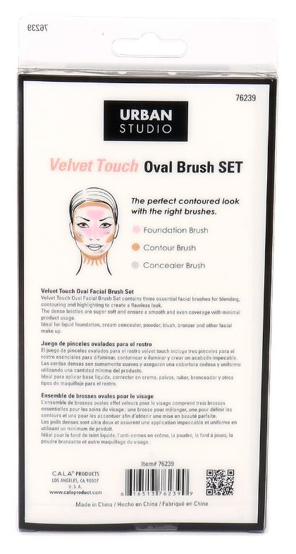 Velvet Touch Oval Brush Set Black