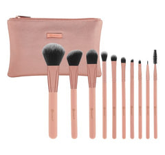 Pretty in Pink - 10 Piece Brush Set with Cosmetic Bag