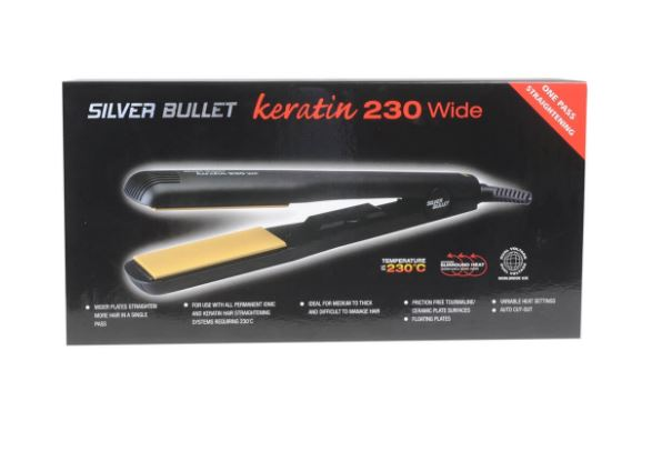 Silver Bullet Keratin 230C Ceramic Hair Straightener Wide Plate 37mm