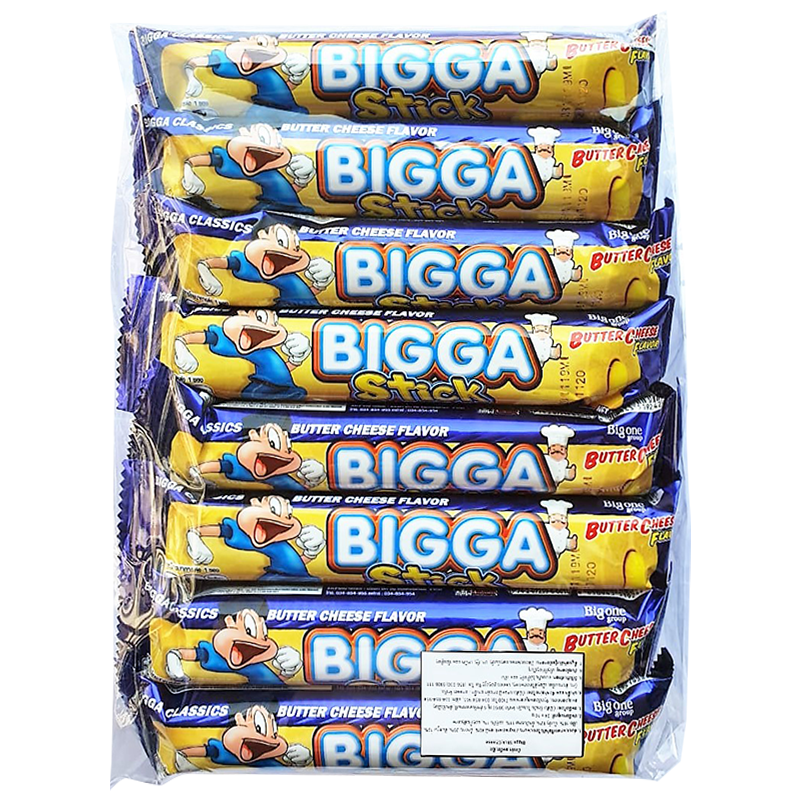 BIGGA Stick Corn Snack Butter Cheese Flavour Size 10g Pack 24pcs