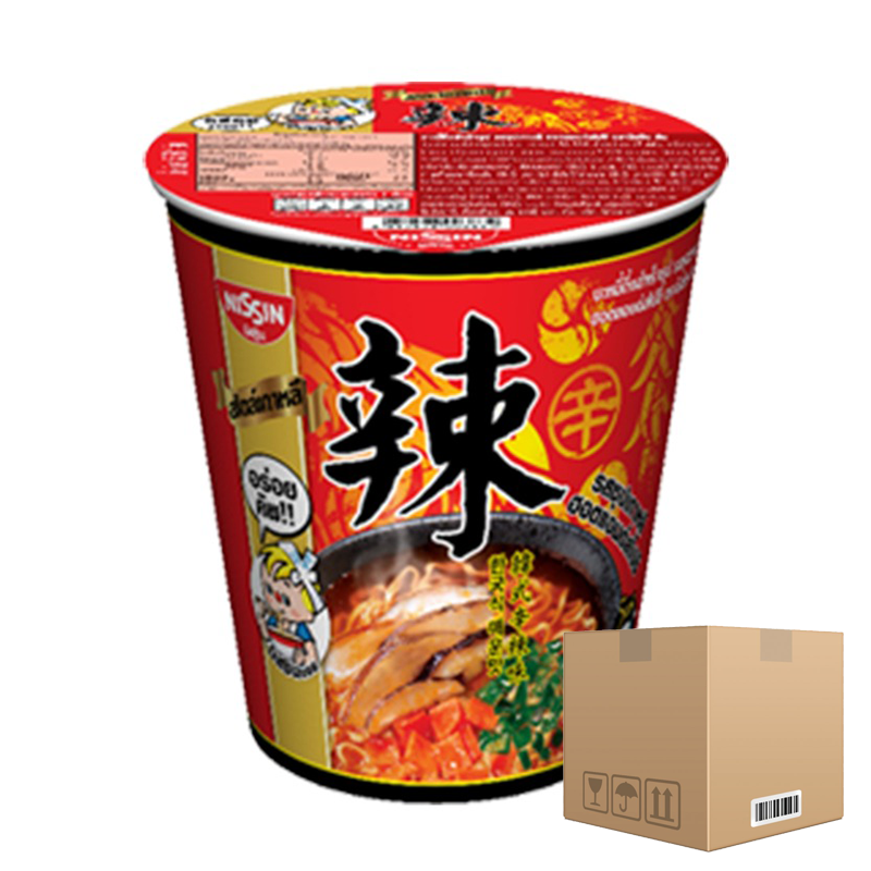 BOX OF 12 packs Instant Noodles Korean Hot and Spicy Soup Flavour NISSIN (Cup Brand) 68g per pack of 6 cups