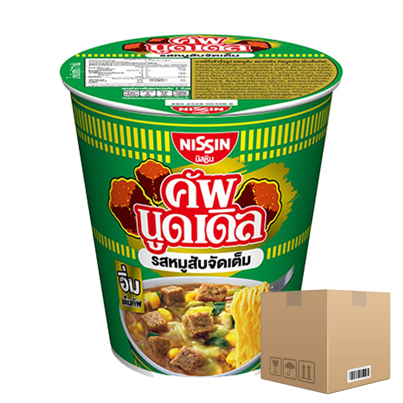 BOX OF 12 packs Instant Noodles Minced Pork Flavour NISSIN Cup Noodles Brand (Im Tem Cup) 77g per pack of 6 cups