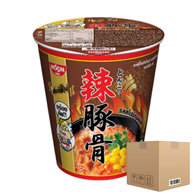 BOX OF 12 packs Instant Noodles Spicy Tonkotsu Flavour NISSIN (Cup Brand) 68g per pack of 6 cups