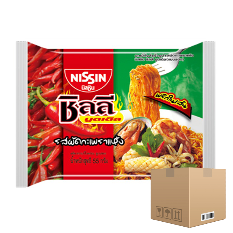 BOX OF 36 packs Instant Noodle Stir-Fried Holy Basil Flavour NISSIN Chili Noodles 60g