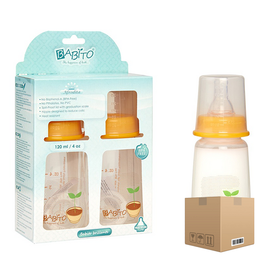 BOX OF 6 Babito BPA-Free Baby Feeding Bottle, Afrodita 120ml / 4 Oz 3-6 Months