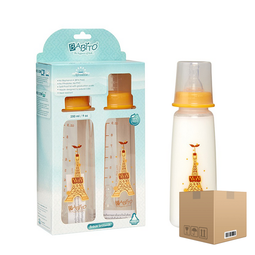 BOX OF 6 Babito BPA-Free Baby Feeding Bottle, Afrodita 250ml / 9 Oz 3-6 Months