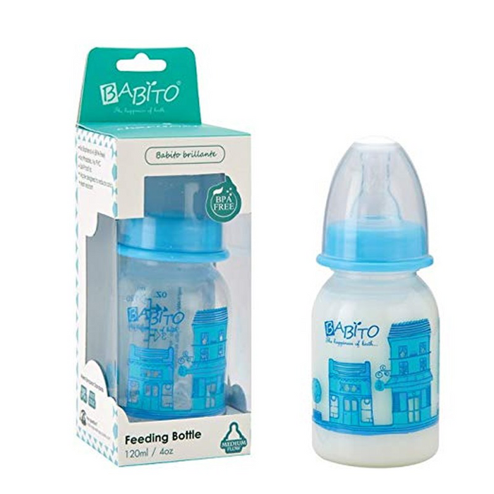 Babito BPA-Free Baby Feeding Bottle, Charismata Blue Color 120ml / 4 Oz 3-6 Months