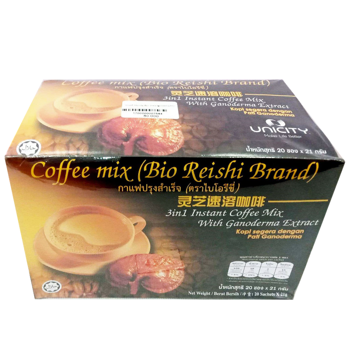 Bio Reishi Brand 3 in 1 Instant Coffee Mix with Ganoderma Extract Size 21g Box of 20sachets