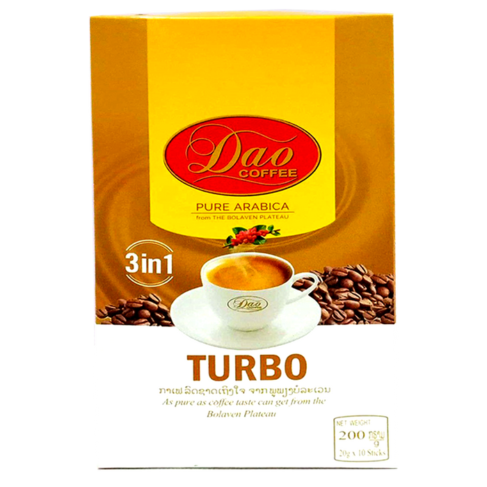 Dao Coffee Pure Arabica From The Bolaven Plateau Formula Turbo 200g Boxes of 10 Sticks