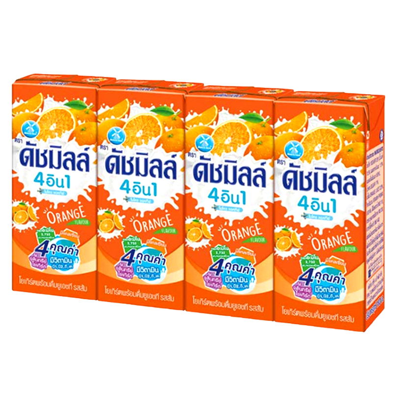 Dutch Mill Drinking Yoghurt UHT Milk Orange Flavor 180ml Pack of 4boxes