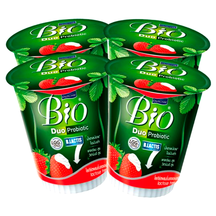 Dutchie Bio Duo Probiotic Yogurt with Strawberry 135g Pack of 4 cups
