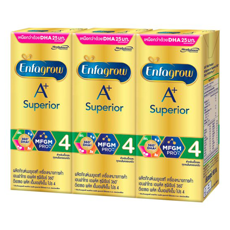 Enfagrow A+ Superior 360˚ DHA+ MFGM Pro 4 UHT Milk Product 180ml Pack of 3boxes