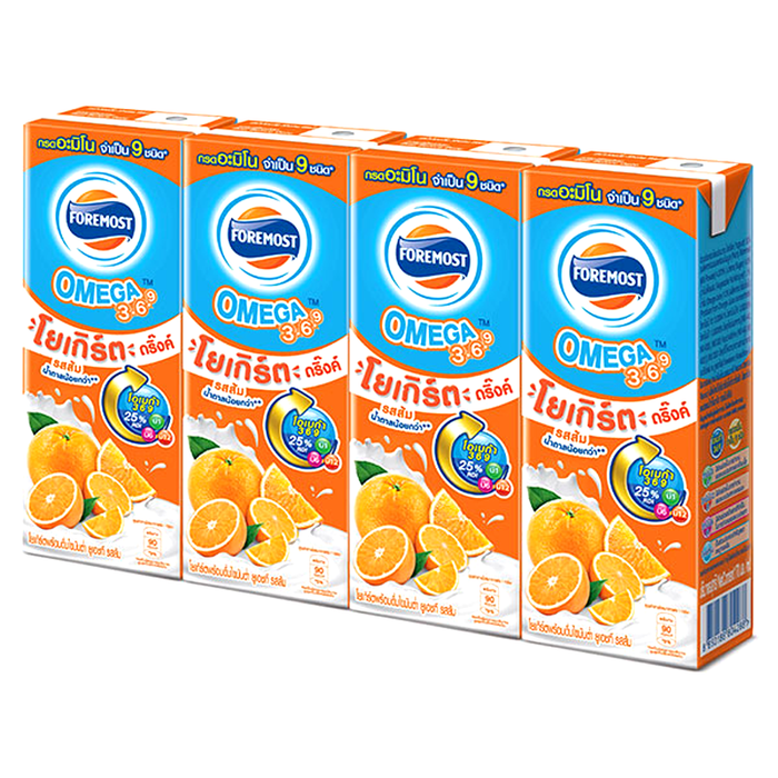 FOREMOST Omega 3 6 9 Low Fat Yogurt Drink Orange Flavor 170g Pack of 4 boxes