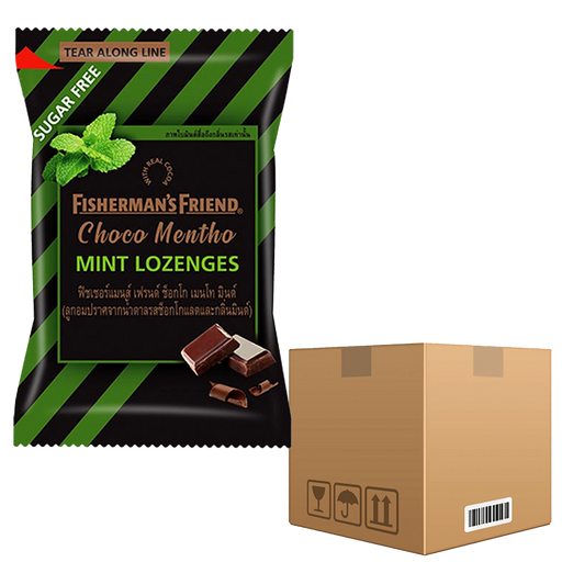 BOX OF 12 Pack Fisherman's Friend Choco Mentho Mint Lozenges 25g pack of 24 pieces