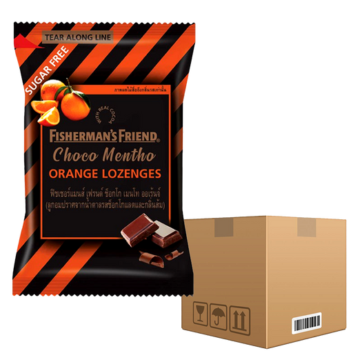 BOX OF 12 Pack Fisherman's Friend Choco Mentho Orange Lozenges 25g pack of 24 pieces