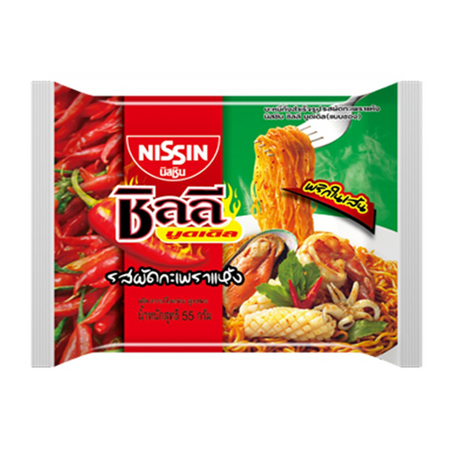 Instant Noodle Stir-Fried Holy Basil Flavour NISSIN Chili Noodles 60g per pack of 5 pieces