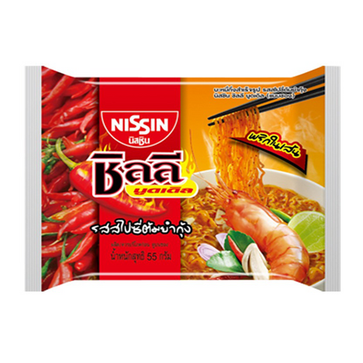 Instant Noodles Spicy Tom Yum Shrimp Flavour NISSIN Chili Noodles 60g per pack of 5 pieces