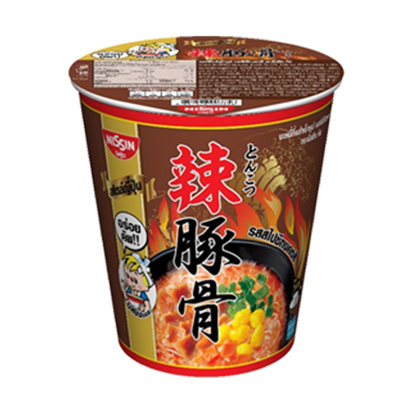 Instant Noodles Spicy Tonkotsu Flavour NISSIN (Cup Brand) 68g per pack of 6 cups