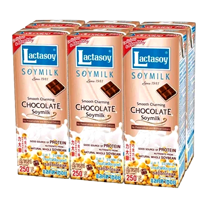 Lactasoy UHT Chocolate Soy Milk 250ml pack of 6boxes