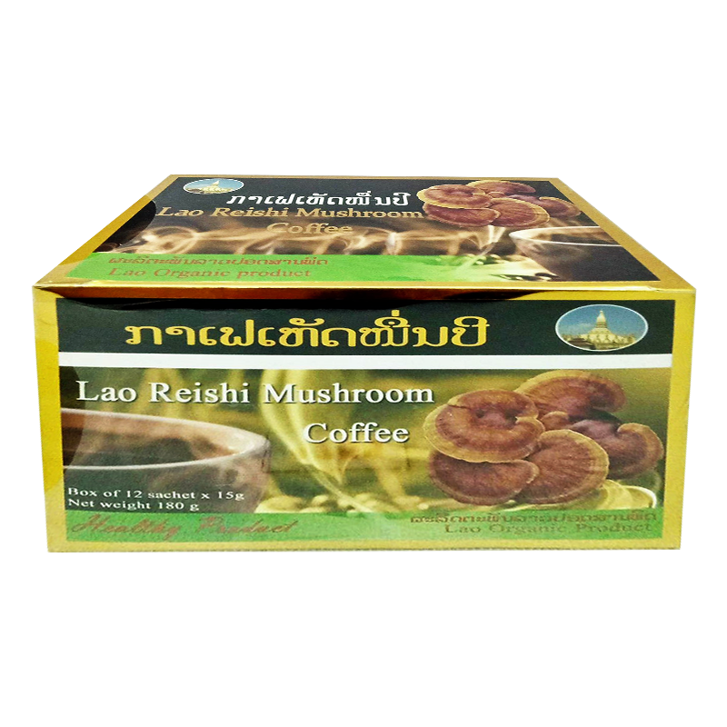 Lao Orgacin Lao Reishi Mushroom Coffee Size 15g box of 12 sachet