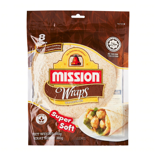 MISSION	WRAP WHOLE MEAL 360g