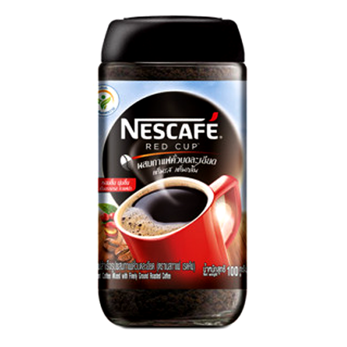 Nescafé Red Cup Instant Coffee Mixed with Finely Ground Roasted Coffee Size 100g